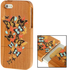 Coloured Drawing Butterfly Pattern Detachable Cherry Wood Material Case for iPhone 5 & 5s & SE
