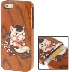 Coloured Drawing Pig Pattern Detachable Redwood Material Case for iPhone 5 & 5s & SE