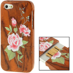 Coloured Drawing Rose Pattern Detachable Redwood Material Case for iPhone 5