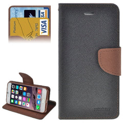 Cross Texture Horizontal Flip Leather Case Cover with Credit Card Slots for iPhone 6 (Black + Coffee)