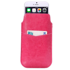 Crazy Horse Texture Leather Case Pocket Pouch Sleeve Bag with Pull Up Tab & Card Slot for iPhone 6 Samsung Galaxy S4 / i9500(Magenta)