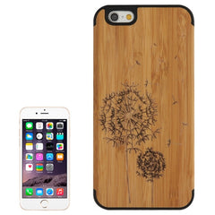 Dandelion Pattern Wood Paste Black PC Back Shell Case for iPhone 6 & 6S