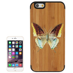 Butterfly Pattern Wood Paste Black PC Back Shell Case for iPhone 6 & 6S