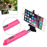 Portable Bluetooth Selfie Stick Monopod Extendable Handheld Holder Max Length: 110cm Suitable for phone width: 40-70mm(Magenta)