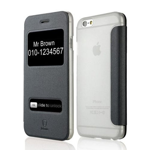 Ultra-thin Leather Case with Caller ID Display for iPhone 6 (Black), Baseus