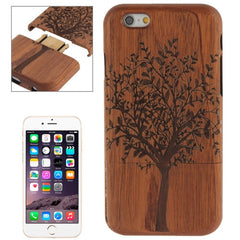 For iPhone 6 Tree Pattern Arc Border Separable Sapele Wooden Case