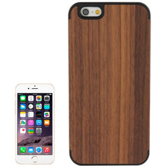 For iPhone 6 Arc Border Walnut Wood Paste Black PC Shell Case