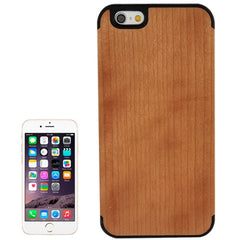 For iPhone 6 Arc Border Cherry Wood Paste Black PC Shell Case