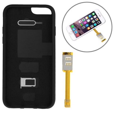 Dual SIM Card Adapter with a Back Case Cover for iPhone 6 (Black)