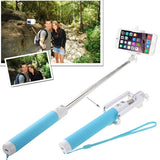 Portable Bluetooth Selfie Stick Monopod Extendable Handheld Holder Max Length: 80cm(Blue)