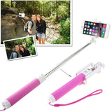 Portable Bluetooth Selfie Stick Monopod Extendable Handheld Holder Max Length: 80cm(Magenta)