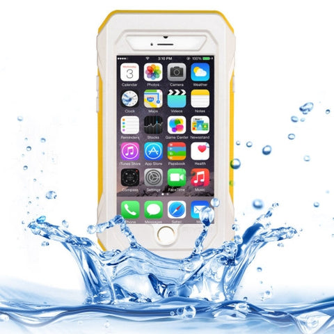 RIYO IP68 Waterproof Shockproof Dustproof Snowproof Protective Case with Holder & Lanyard for iPhone 6(White and Yellow)
