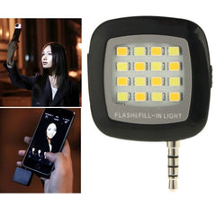 Universal Night Using Selfie Enhancing LED Flash Light for iPhone & Android Smartphones & Tablets & Digital camera(Black)