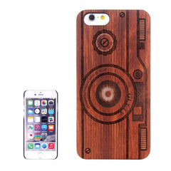 Camera Carved Pattern & Rosewood Patch Protective Case for iPhone 6 & 6s