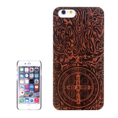 Cross Carved Pattern & Rosewood Patch Protective Case for iPhone 6 & 6s