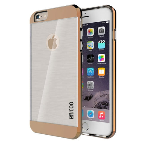 Slicoo Brushed Texture Electroplating Transparent Combination Case for iPhone 6 & 6S(Coffee)
