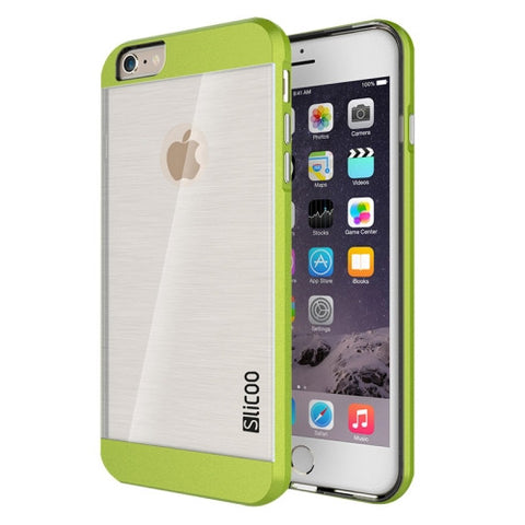 Slicoo Brushed Texture Electroplating Transparent Combination Case for iPhone 6 & 6S(Green)