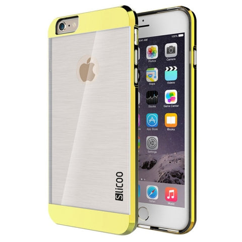 Slicoo Brushed Texture Electroplating Transparent Combination Case for iPhone 6 & 6S(Gold)