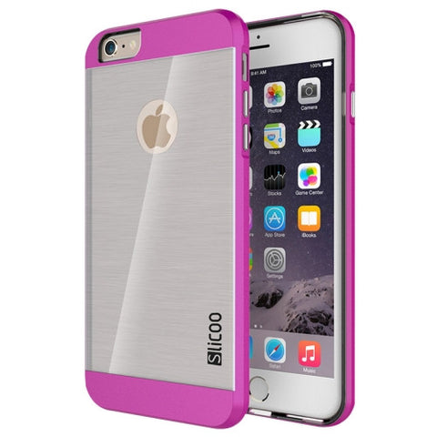 Slicoo Brushed Texture Electroplating Transparent Combination Case for iPhone 6 & 6S(Magenta)
