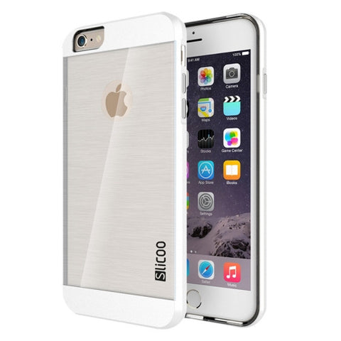 Slicoo Brushed Texture Electroplating Transparent Combination Case for iPhone 6 & 6S(White)