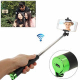 Adjustable Bluetooth Wireless Self-timer Handheld Monopod for Smartphones Extended Length: 80cm Folding Length: 17cm(Green)