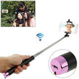 Adjustable Bluetooth Wireless Self-timer Handheld Monopod for Smartphones Extended Length: 80cm Folding Length: 17cm(Magenta)