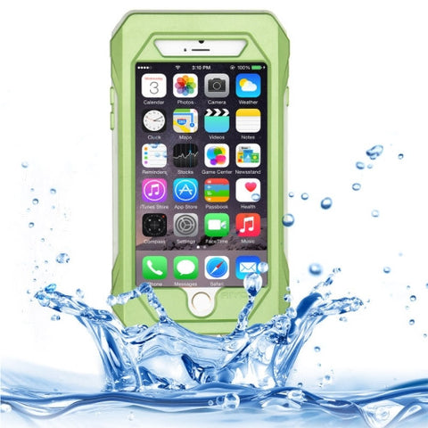 RIYO for iPhone 6 Plus IP68 Waterproof Shockproof Dustproof Snowproof Protective Case with Holder & Lanyard(Green)