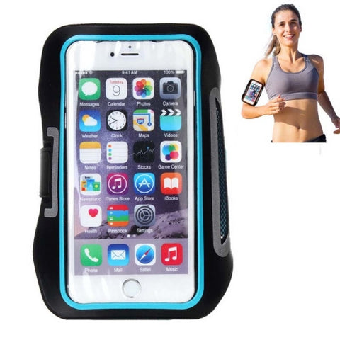Ultra-Thin Double Buckle Sport Armband Case with Earphone Hole & Key Pocket & Earphone Winder & Card Slot for iPhone 6 & 6s Plus Samsung Galaxy Note 5 / Note 4 / Note 3 / Note 2 / Note 1(Blue)