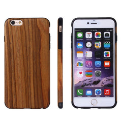 For iPhone 6 Plus & 6s Plus Teak Wood + PU Material Protective Case
