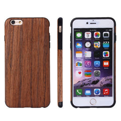 For iPhone 6 Plus & 6s Plus Red Sandal Wood + PU Material Protective Case