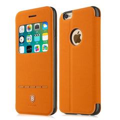 Baseus for iPhone 6 Plus & 6s Plus Terse Young Series Horizontal Flip Color Matching Leather Case with Holder & Caller ID Display (Orange)