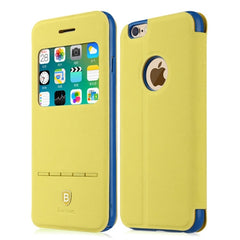 Baseus for iPhone 6 Plus & 6s Plus Terse Young Series Horizontal Flip Color Matching Leather Case with Holder & Caller ID Display (Yellow)