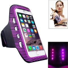 Colorful Sport Armband Case with LED Lighting for iPhone 6 Plus / Samsung Galaxy S7 Edge / Note 5 & 4(Purple)