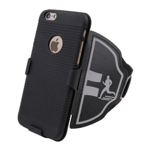 For iPhone 6 Plus & 6s Plus Sport Armband Case Hard Back Cover with Back Splint & Keys Bag / Change Pocket / Card Slots