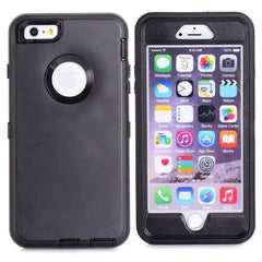 3 in 1 Hybrid Silicon & Plastic Protective Case for iPhone 6 Plus(Black)