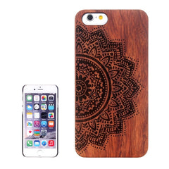 Ethnic Flower Carved Pattern & Rosewood Patch Protective Case for iPhone 6 Plus & 6S Plus