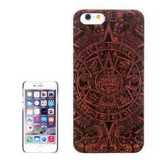 Abstract Carved Pattern & Rosewood Patch Protective Case for iPhone 6 Plus & 6S Plus
