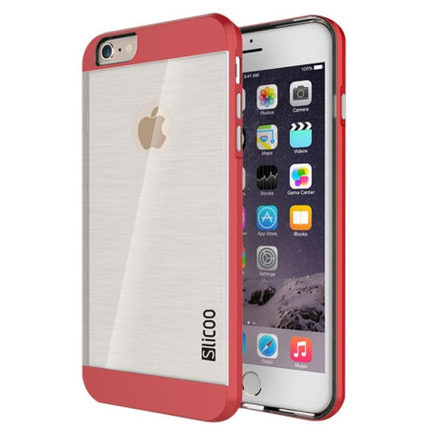 Slicoo Brushed Texture Electroplating Transparent Combination Case for iPhone 6 Plus & 6S Plus(Red)