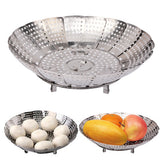 Multifunction Stainless Steel Folding Fruit Plate Fruit Dish / Steam Rack