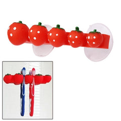 Sweet Strawberry Bathroom Four Toothbrushes Holder with Two Suction Cups (Random Color Delivery)
