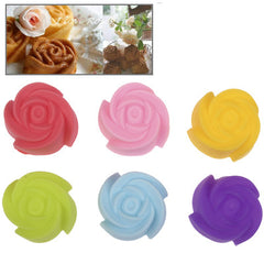 6 pcs Soft Silicone Rose Style Cake Cup Muffin Cases Chocolate Cupcake Liner Baking Cup Diameter: 3cm