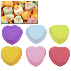 6 PCS Soft Silicone Heart Style Cake Cup Muffin Cases Chocolate Cake Baking Cup Size: 7x6.5x3cm