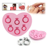 Silicone Love Ring Shape Ice Cube Trays / Chocolate Mold (Random Color Delivery)