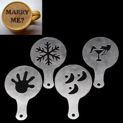 4 PCS Cappuccino Mold / Fancy Coffee Mold / Coffee Mold(Silver)