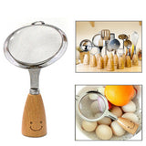 Smiley Wooden Handle Stainless Steel Strainer Colander Length: 18cm