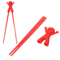 Cute Child Smile Cartoon Doll Plastic Chopsticks with Silicone Cap Tableware (Red)