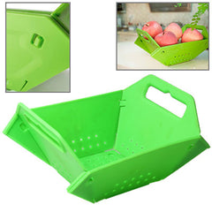 Plastic Folding Fruit Basket (Green)