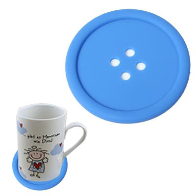 Personality Anti-skid Buttons Coasters (Blue)