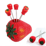 Creative Strawberries Shape Fruit Fork Set(Red)