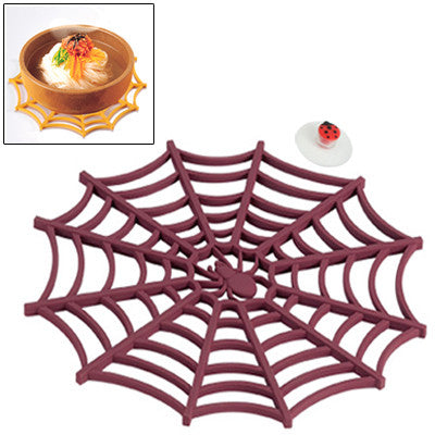 Versatile Spider Web Design Silicone Anti-Slip Hot Trivet Pad Soft Gel Pot Cup Coaster Mat (Scarlet Red)